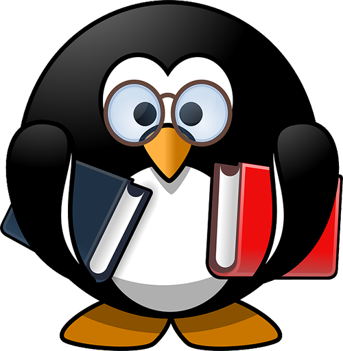 Penguin holding two books.